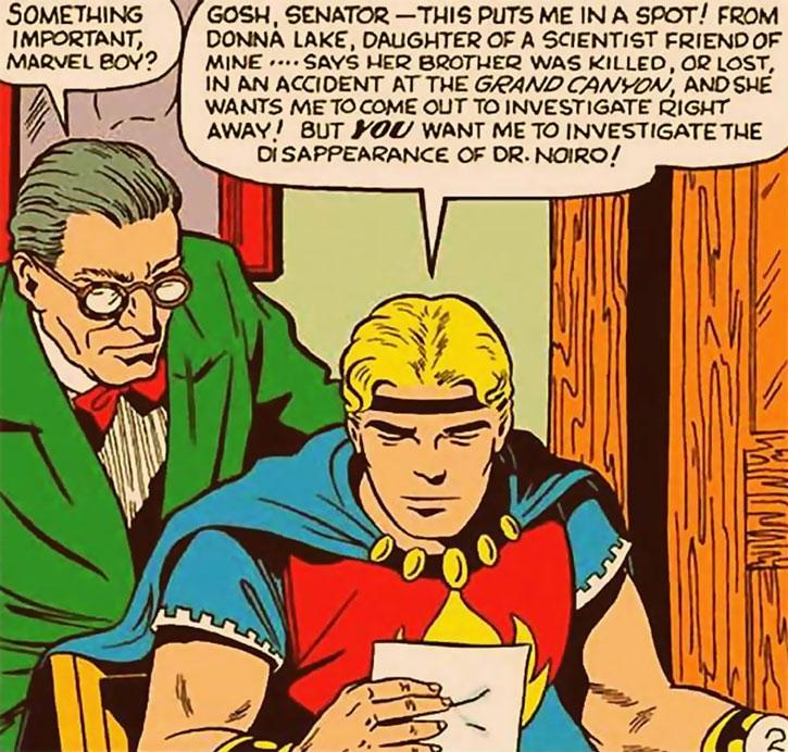Marvel Boy (Bob Grayson) and a senator