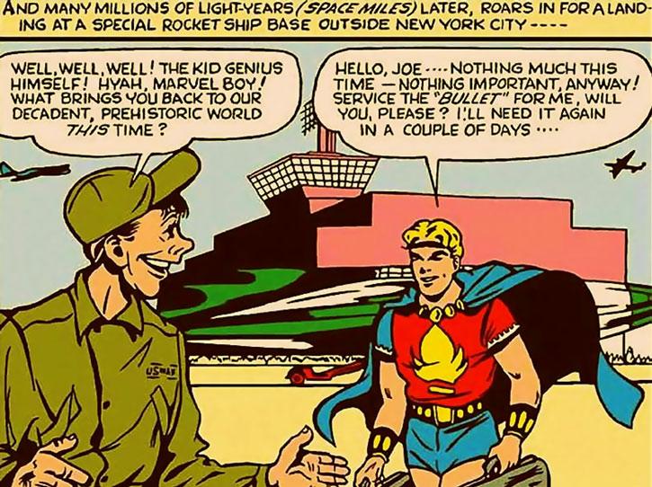 Marvel Boy (Bob Grayson) at the rocketship base