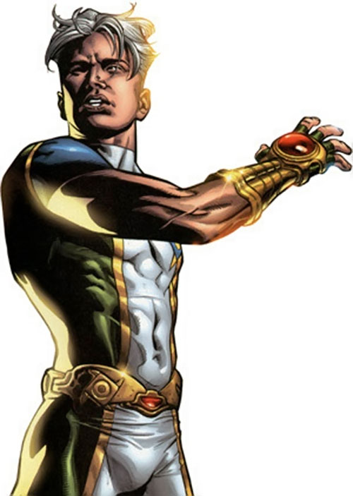 Marvel Boy (Noh-Varr) (Marvel Comics) raising his arm