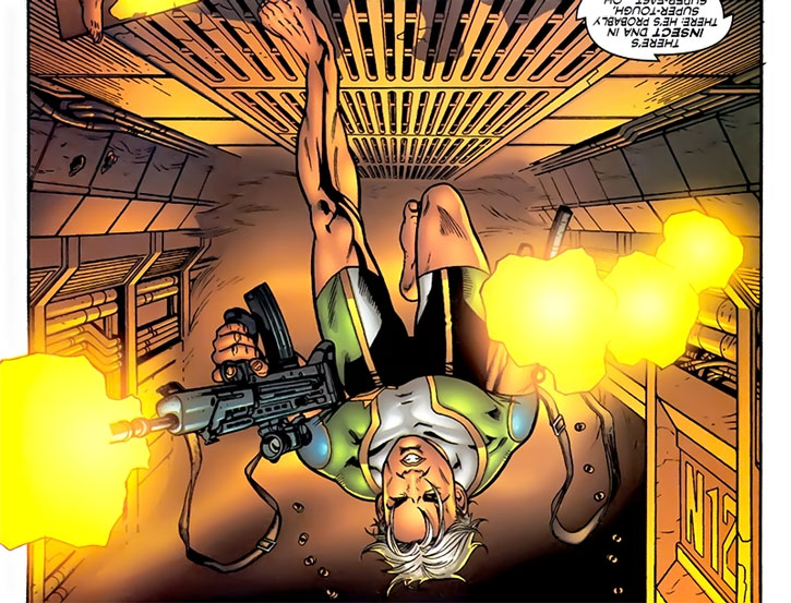 Marvel Boy (Noh-Varr) running on the ceiling, dual-wielding assault rifles