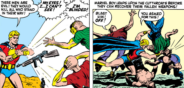 Marvel Boy (Timely Comics) using his bracers' flash power then his fists