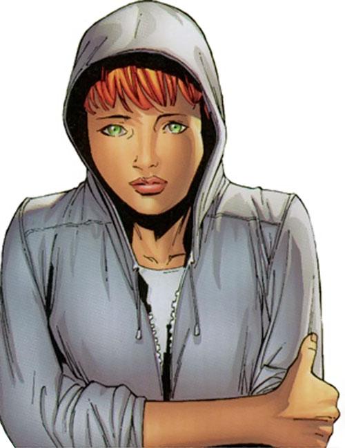Marvel Girl of the X-Men (Rachel Grey) (Marvel Comics) in a light grey hoodie