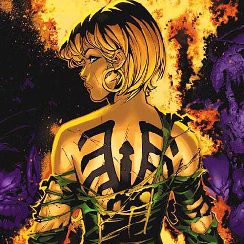 Marvel Girl of the X-Men (Rachel Grey) (Marvel Comics)'s Shi'ar mark on her back
