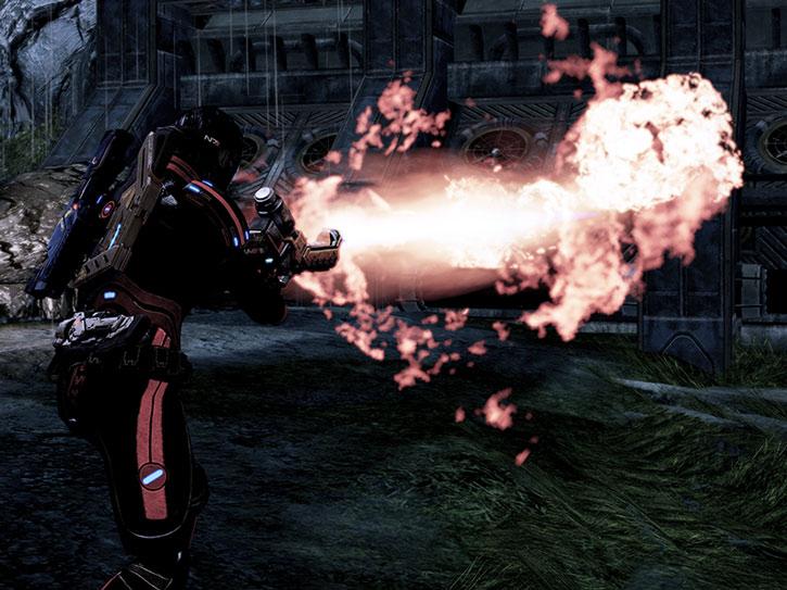 Commander Shepard firing a Firestorm flamethrower