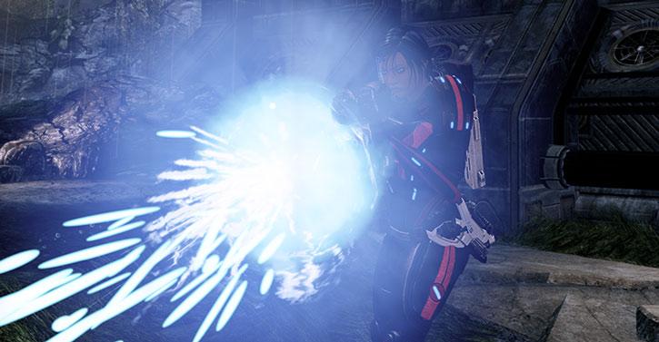 Commander Shepard firing a geth shotgun