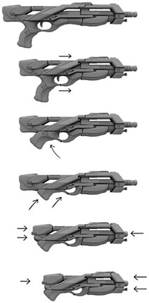 Mass Effect - Katana shotgun folding collapsing sequence