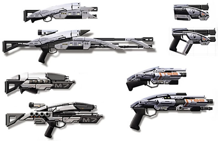 Mass Effect 1 guns in folded and combat mode