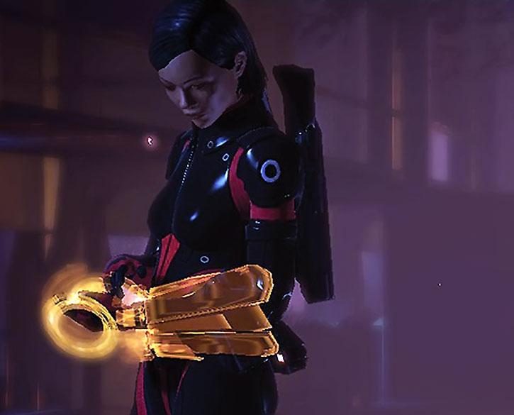Commander Shepard uses her omni-tool