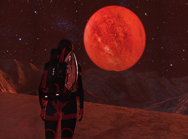 Alien world with a red moon