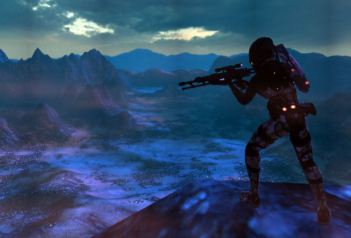 Sniper over an alien valley