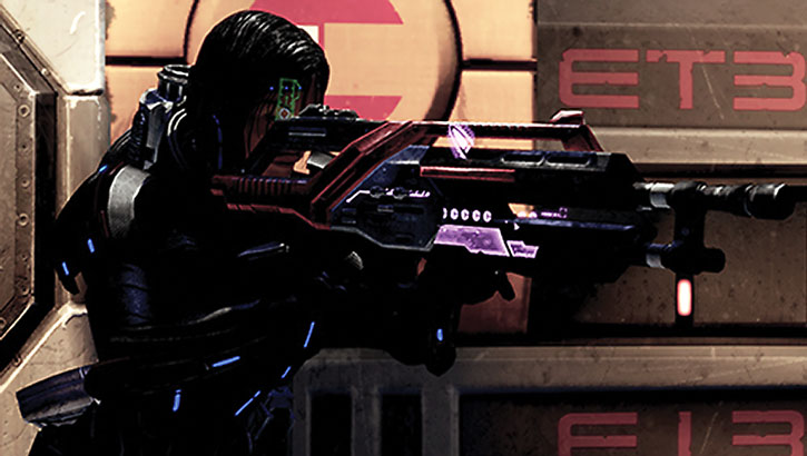 Commander Shepard aims her Revenant machinegun