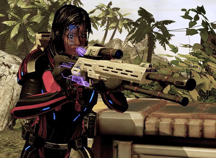 Commander Shepard aims a M-97 Viper sniper rifle