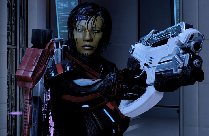 Commander Shepard points a M-5 Phalanx pistol