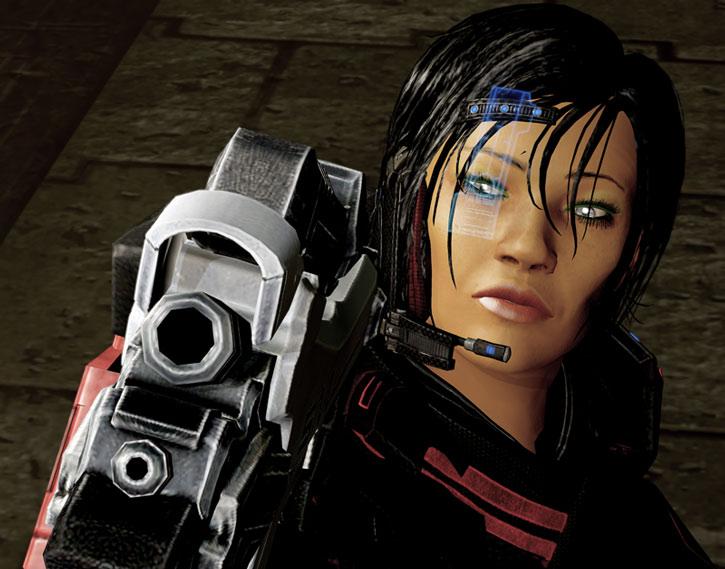 Commander Shepard aims a heavy pistol