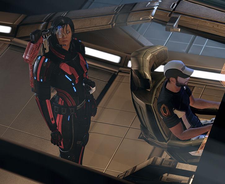 Commander Shepard and Joker in the Normandy helm