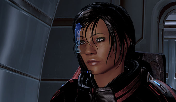 Commander Shepard with her visor on