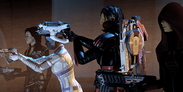 Commander Shepard, Miranda, Liara and Kasumi pointing their guns