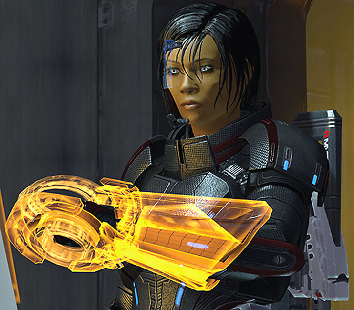 Commander Shepard using her omni-tool