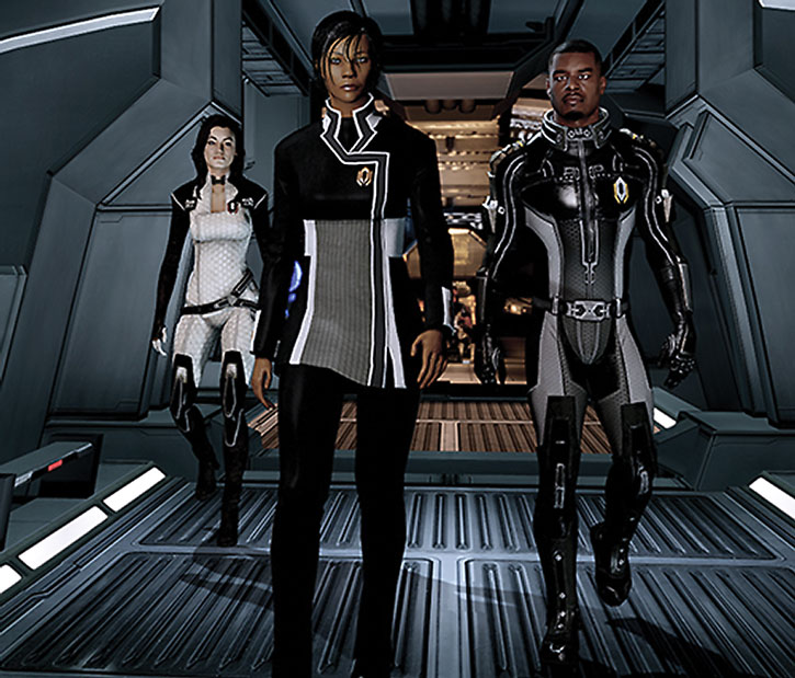 Commander Shepard power walking with Miranda and Jacob