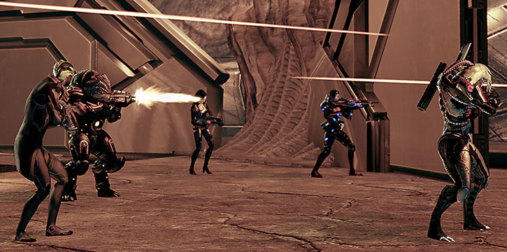 Commander Shepard and her team battle the Collectors