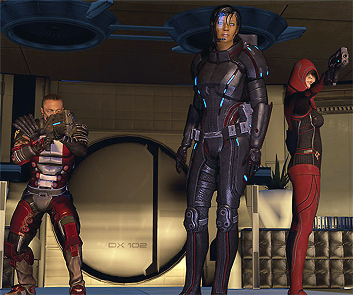 Commander Shepard with Zaeed and Kasumi covering her