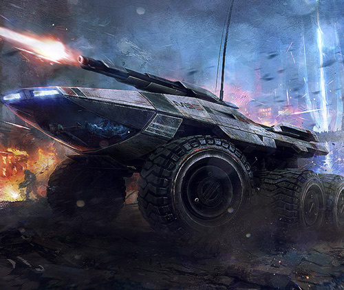 Mass Effect Mako in battle (Bioware art)