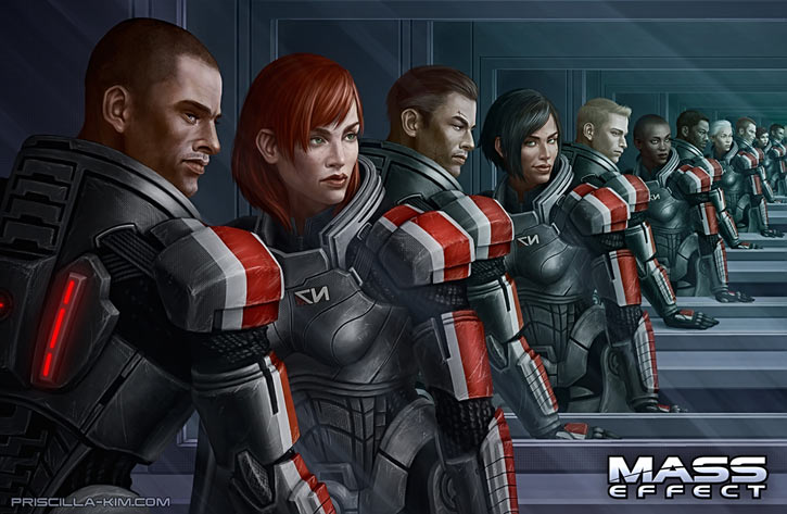 Many diverse versions of Commander Shepard in Mass Effect, by Priscilla Kim.