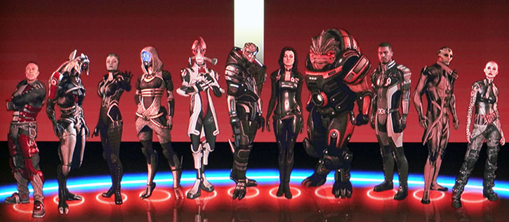 The full squad roster in Mass Effect 2