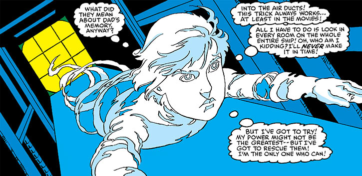 Mass Master (Jack Power) flying into a duct (Marvel Comics)