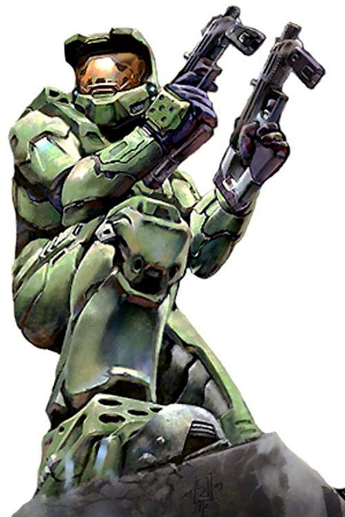 Spartan soldier (Halo) dual-wielding submachineguns