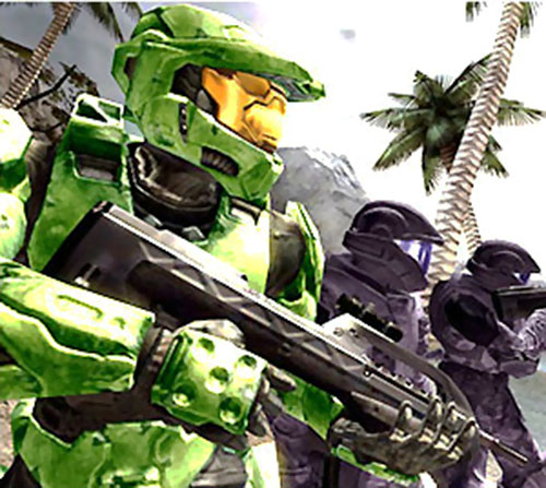 Spartan soldier (Halo) in the field with marines