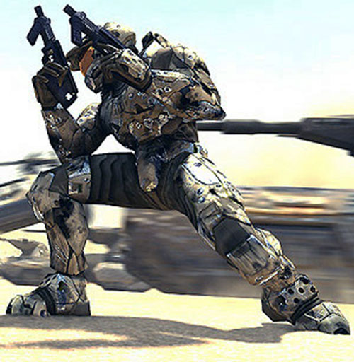 Spartan soldier (Halo) dual-wielding submachineguns as a vehicle speeds by