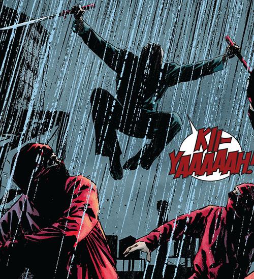 Master Izo (Daredevil character) (Marvel Comics) attacks Hand ninja
