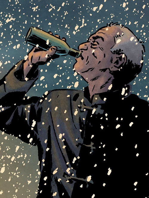 Master Izo (Daredevil character) (Marvel Comics) having a beer under snow
