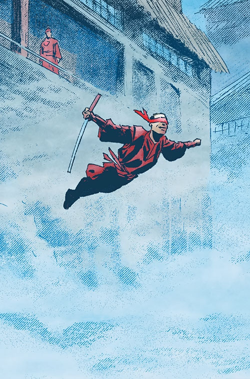 Master Izo (Daredevil character) (Marvel Comics) leaping in the fog from a Hand fortress, sword in hand