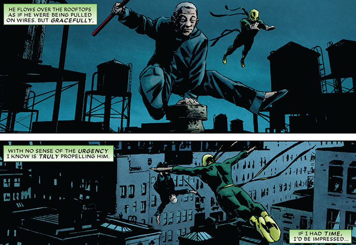 Master Izo and Iron Fist on rooftops