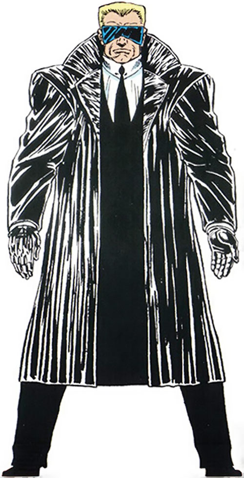 Master Man (Marvel Comics) in a Gestapo trench coat and shades
