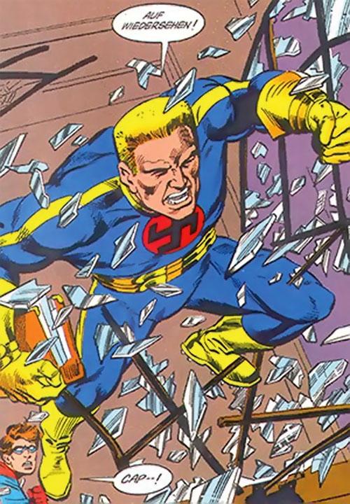 Master Man (Marvel Comics) crashes through a window