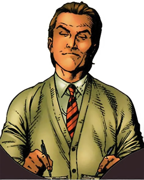 Emil Burbank aka Master Menace (Supreme Power) (Marvel Comics) smugly writing with both hands at once