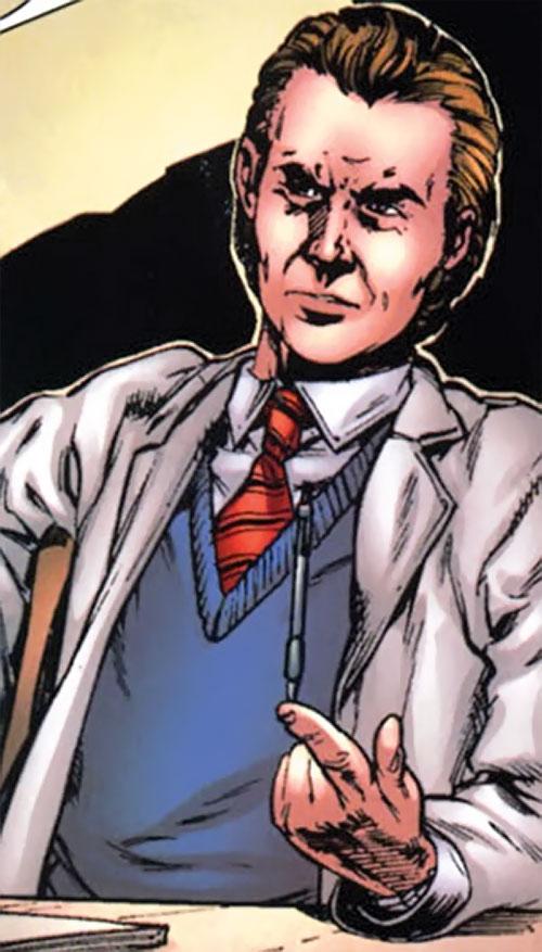 Emil Burbank aka Master Menace (Supreme Power) (Marvel Comics) playing with a pen