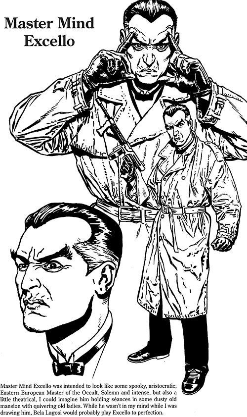 Master Mind Excello (Timely Marvel Comics) 2007 redesign model sheet