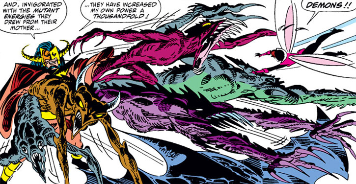 Master Pandemonium casts demons at the Avengers