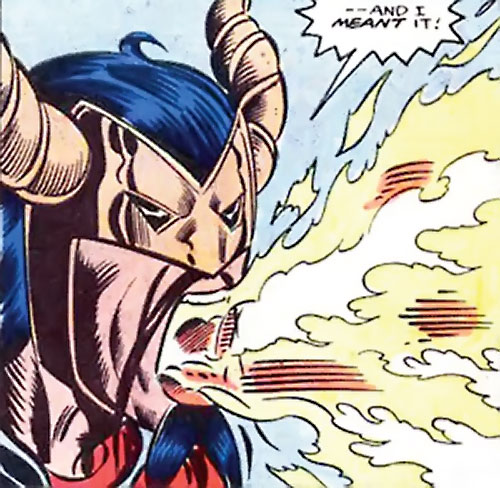 Master Pandemonium (Avengers enemy) (Marvel Comics) belching demon fire