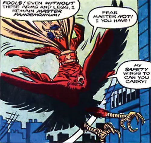 Master Pandemonium (Avengers enemy) (Marvel Comics) on his giant bird Azmodeus