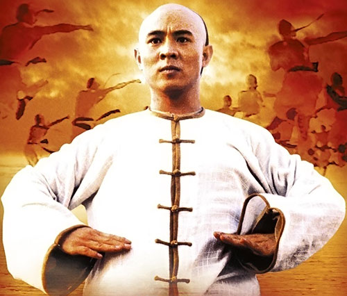 Master Wong (Jet Li in Once Upon A Time In China movies) in a white Chinese vest