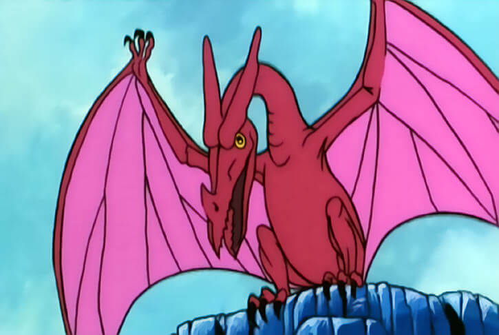 Masters of the Universe 1980s cartoon - Animals and monsters - Pterodactyl in pink and red