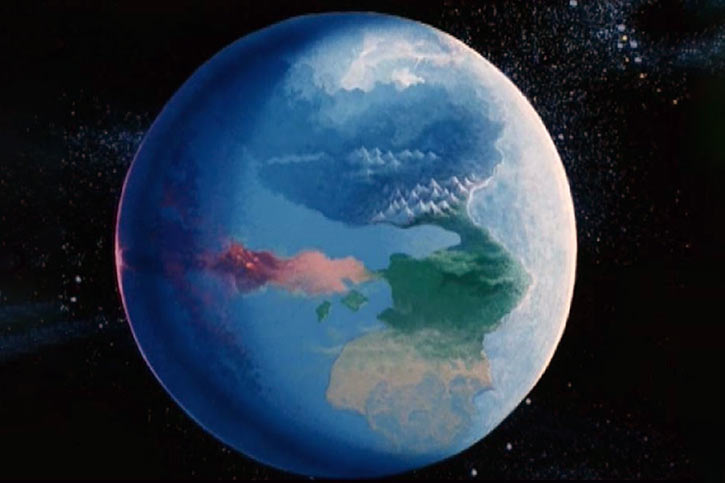 Masters of the Universe cartoon - Eternia seen from space