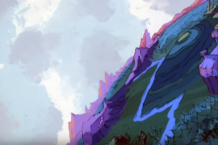 Masters of the Universe cartoon - Eternia landscape with mountains