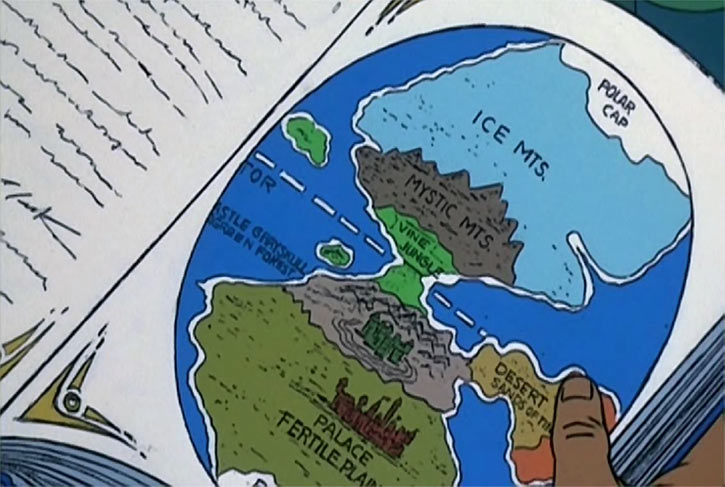 Masters of the Universe cartoon - Eternia map in a book