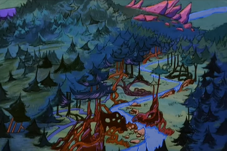 Masters of the Universe cartoon - Eternia landscape with forest and stream